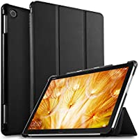 ELTD Huawei 10.1インチ MediaPad M5 Lite 10 タブレット ケース MediaPad M5 lite 10 ケース Wi-Fiモデル/LTEモデル適用 オートスリープ機能付き 手帳型ケース (ブラック)