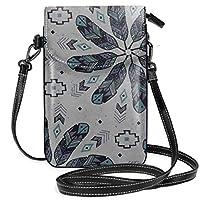 ボヘミアンフェザーズ(グレー) レディース、女の子用ショルダーストラップ付きクロスボディ財布携帯電話財布ミニショルダーバッグ