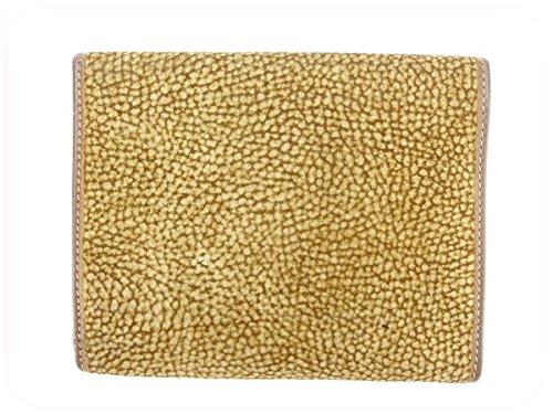 ボルボネーゼ BORBONESE 三つ折り財布 レディース うずら ブラウン×ベージュ スエード×レザー 良品 中古 A908