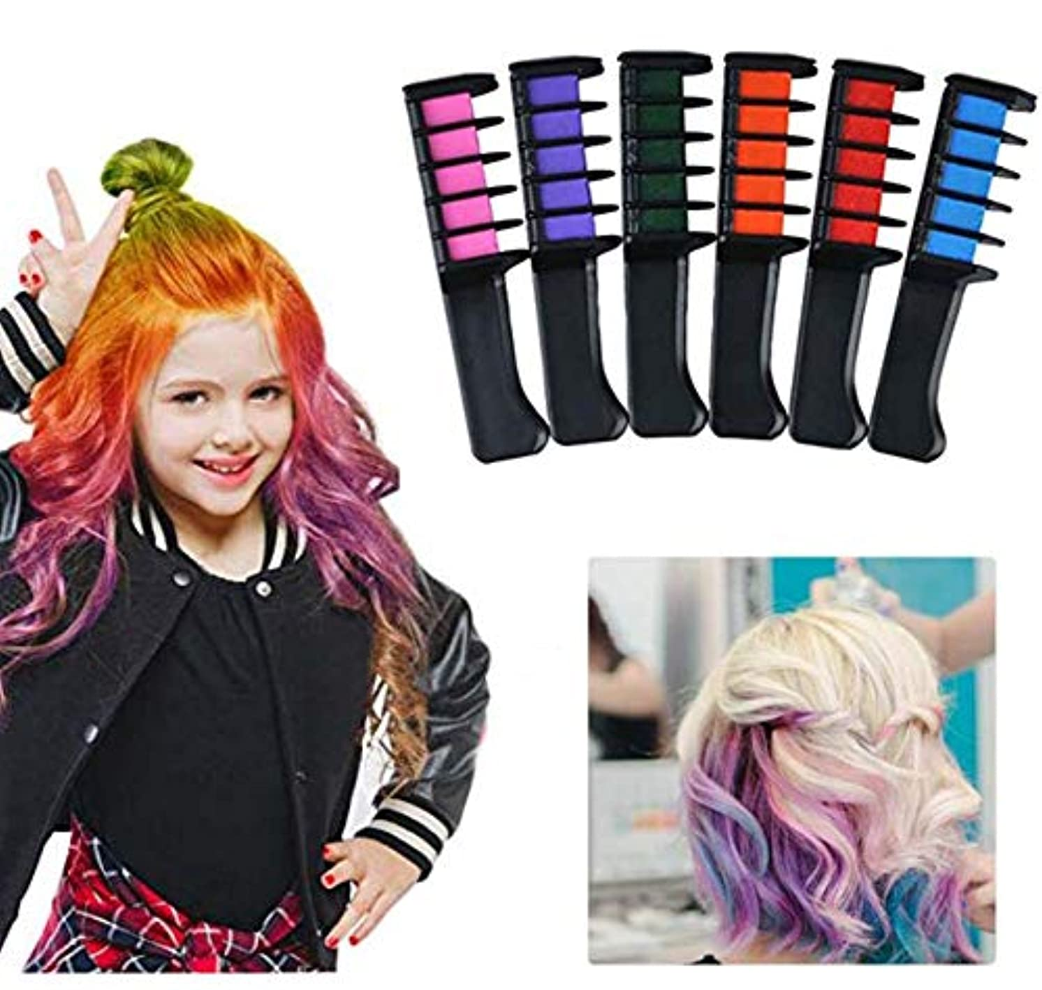 ソートなめる見ました子供のための安全な非有毒な一時的な髪のチョークの櫛6色髪の色の櫛髪のチョークの櫛、女の子、パーティー、コスプレ