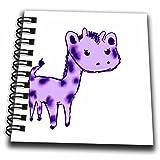 "Patricia Sanders Creations–キュートパープルキリン漫画アート動物ジャングルKids–Drawing Book 4 x 4"" db_32759_3"