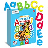 Curious Columbus Magnetic Letters and Numbers. Set of 115 Premium Quality ABC, 123 Colorful Foam Alphabet Magnets Best Educational Toy for Preschool Learning, Spelling, Counting