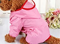 フード付きペット犬のレインコート防水服屋外犬用のかわいいジャケット(ピンク XS)