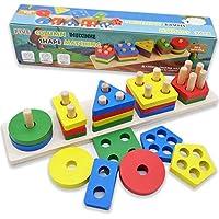 IHUIXINHE 木製 教育 就学前 幼児 おもちゃ 1 2 3 4-5歳 男の子 女の子 形状 色認識 幾何学ボード ブロック 積み重ね ソート 子供 赤ちゃん 非毒性 おもちゃ