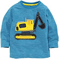Frogwill Toddler Boys Excavator Long Short Sleeve Cartoon T Shirt Size 2-7 Years