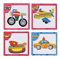 4色の漫画の認知パズルのセット子供の教育玩具(車両)
