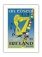 アイルランド - トスタル祭り - KLM ロイヤルオランダ航空 - ビンテージな航空会社のポスター によって作成された オーギュスト・メライ c.1953 -プレミアム290gsmジークレーアートプリント - 46cm x 61cm