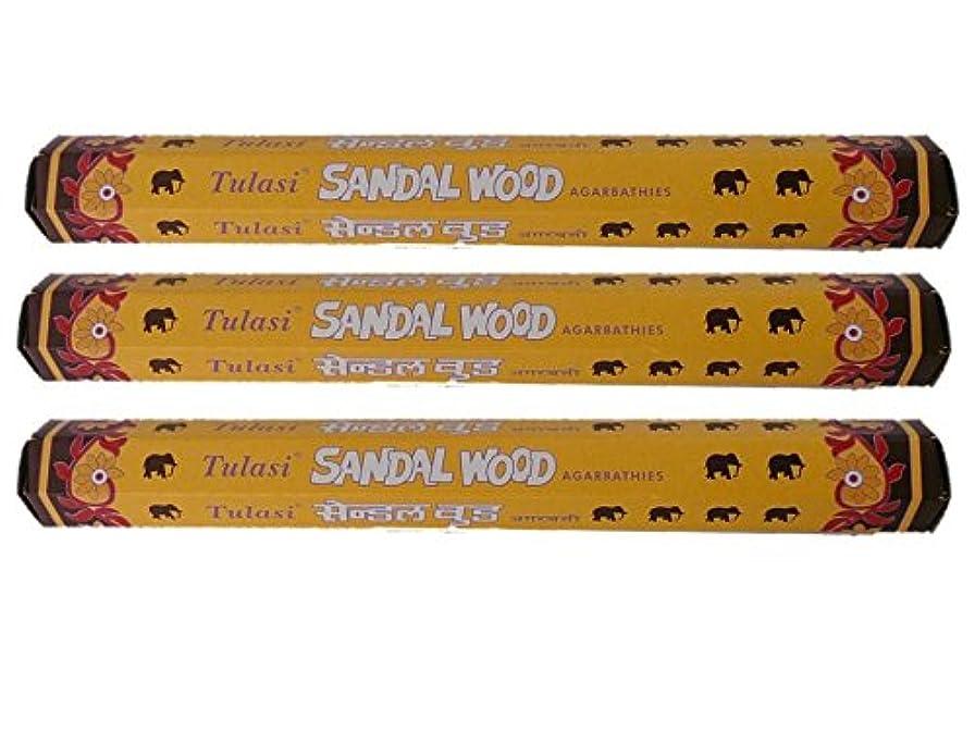 Tulasi(トゥラシ) お香:サンダルウッド スティックお香/インセンス/六角香/3箱セット