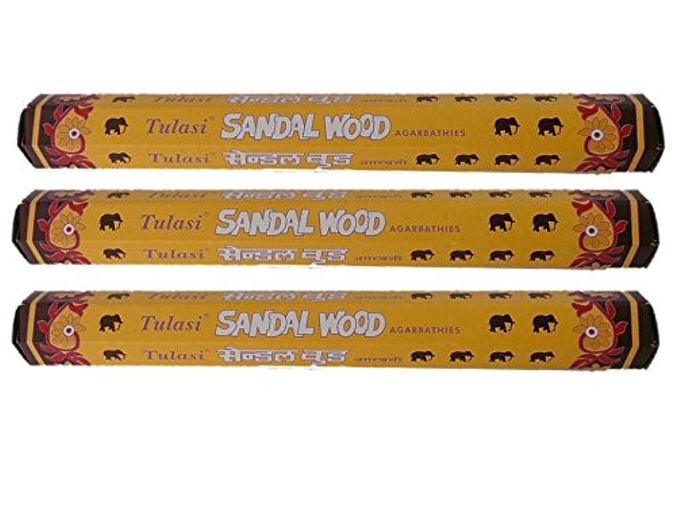 より良い取り囲む品種Tulasi(トゥラシ) お香:サンダルウッド スティックお香/インセンス/六角香/3箱セット
