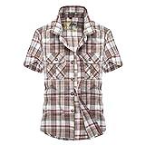 SemiAugust(セミオーガスト)メンズ ワイシャツ 半袖 チェック柄 カジュアル シャツ シャツ おしゃれ ネルシャツ 夏 (レッド XL)