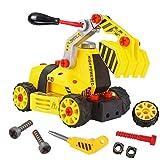 CPRPER TOYS 組み立て 車おもちゃ ネジ止め 7in1 DIYカー セット 建設車両 働く車 作業車 工事現場シリーズ 子供向け 立体パズル イェロー