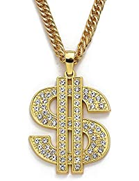 Dollar Sign Necklaces for Women Men,Stainless Steel Iced Out Rhinestone Jewelry, Gold Fashion Pendants with 28 Inches Chain