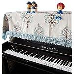 UNI ピアノカバー アップライトピアノ ピアノトップ 防塵カバー 【 北欧風 ツリー 刺繍 】 田舎風 レース 縁取り (ブルー)