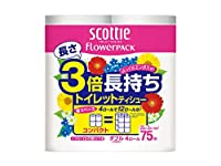 まとめ買いトイレットペーパー|日本製紙クレシア スコッティフラワーパック3倍長持ち ダブル75m 4Rx12P