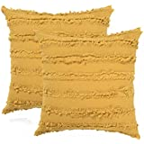 Boho Decorative Throw Pillow Covers, Cotton Linen Large Cushion Covers for Restaurant| Hotel| Party| Car| Office| Home| Outdoor Activities, 20 x 20 Inches, Pack of 2, Mustard Yellow