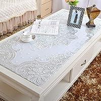 長方形pvcビニールテーブルクロス,防水 コーヒーテーブルクロスステンド耐性 長方形テーブル カバー マット キッチンの-ホワイト D 40*83cm