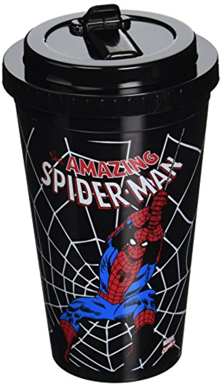 Silver Buffalo MC3284 Marvel Spiderman Swings BPA-Free Plastic Flip Straw Cold Cup, 16 oz., Black by Marvel [並行輸入品]
