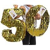 APINATA4U 50歳 誕生日 ダブルデジタル ピニャータ 金箔フリンジカラー