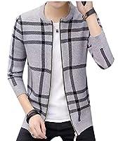 chenshiba-JP Men's Classic Full Zip Color-Block Knitted Cardigan Sweater Coat Gery XS