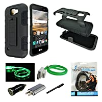 LG K3 Case Mstechcorp Heavy Duty Dual Layer Holster Case Kick Stand with Locking Belt Swivel Clip - With Accessories [並行輸入品]