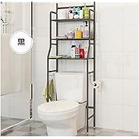 トイレ収納ラック ランドリー収納 3段 トイレ用品 トイレ収納 棚 ブラック (黒)