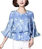 (フムフム) fumu fumu レディース ブラウス トップス とろみ チュニック フリルスリーブ きれいめ 大きいサイズ カットソー シフォン 羽 柄 レッド ブルー ホワイト ワンピース ファッション かわいい 花柄 (B03. ブルー L )