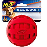 Nerf Dog Checker Squeak Rubber Ball Dog Toy, Medium/Large, Red