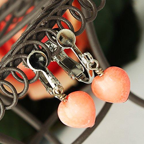 【製造元大卸】 高級 桃色珊瑚 ハート K18GP イヤリング