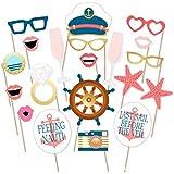 toshine Nauticalトピックパーティー写真ブース小道具キット、ブライダルシャワー結婚式ポーズSign Supplies、ヨットネイビークルーズセーラーキャプテンロールパーティーBachelorette装飾ドレスUp Funアクセサリー20個