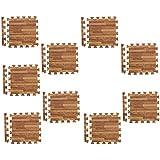 BAOBLADE 9Pieces Wood Effect Interlocking Eva Mats Gym Exercise Kids Play Floor Foam Tiles Mats