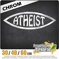 Atheist fish - 3つのサイズで利用できます 15色 - ネオン+クロム! ステッカービニールオートバイ