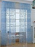TINNZTESカーテン薄手、ウィンドウスクリーニング、ウィンドウガーゼ、Fresh Flower Sun花、ドア部屋ディバイダー、ウィンドウの寝室、リビングルーム、バルコニー、フィット、39.4X 78.7インチ ブルー