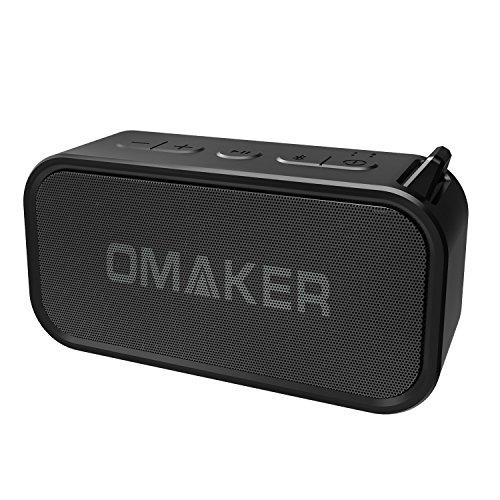 Omaker M6 Bluetoothスピーカー 防水 7W低音強化 ワイヤレススピーカー 20m通信距離 TWS機能対応 (デュアルドライバー/12時間連続再生/マイク/通話可能/アウトドア/お風呂/カナビラとストラップ付き)ブラック