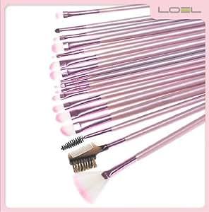やわらか化粧ブラシセット メイクブラシセット ピンクの可愛い専用収納ケースとまゆ用毛抜き付き 22本セット
