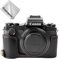 FIRST2SAVVV 黒 キヤノン Canon PowerShot G1 X Mark III 専用 PU 半分レザー レフ カメラバッグ カメラケース +クリーニングクロス XJD-G1X Mark III-D01