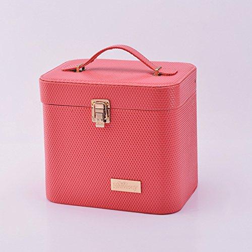【NOzi】コスメ メイク ボックス 収納 ケース 防水 ファション おしゃれ かわいい 小物 多機能 収納ボックス 小物収納 整理箱 ボックス 雑貨入れ 化粧 (スイカ赤)