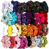 40 Pcs Hair Scrunchies Velvet Elastic Hair Bands Scrunchy Hair Ties Ropes Scrunchie for Women or Girls Hair Accessories - 40 Assorted Colors