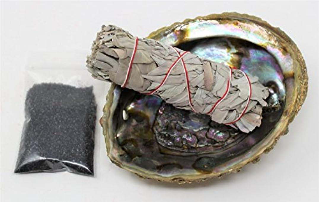 請求書従事する探すセージSmudgeキットwithカリフォルニアホワイトセージ、Large Abalone Shell、ブラックSalt Plus Smudging Directions