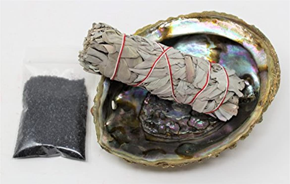 セージSmudgeキットwithカリフォルニアホワイトセージ、Large Abalone Shell、ブラックSalt Plus Smudging Directions
