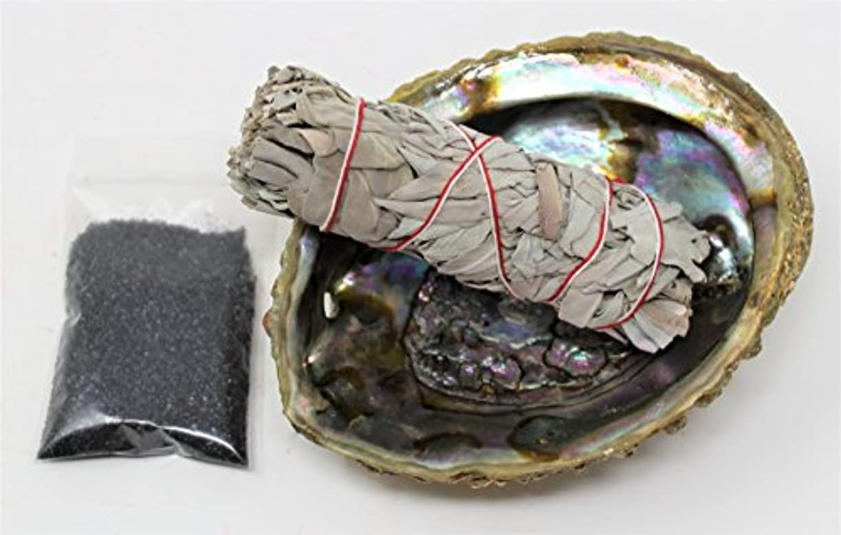解決する不足ボールセージSmudgeキットwithカリフォルニアホワイトセージ、Large Abalone Shell、ブラックSalt Plus Smudging Directions