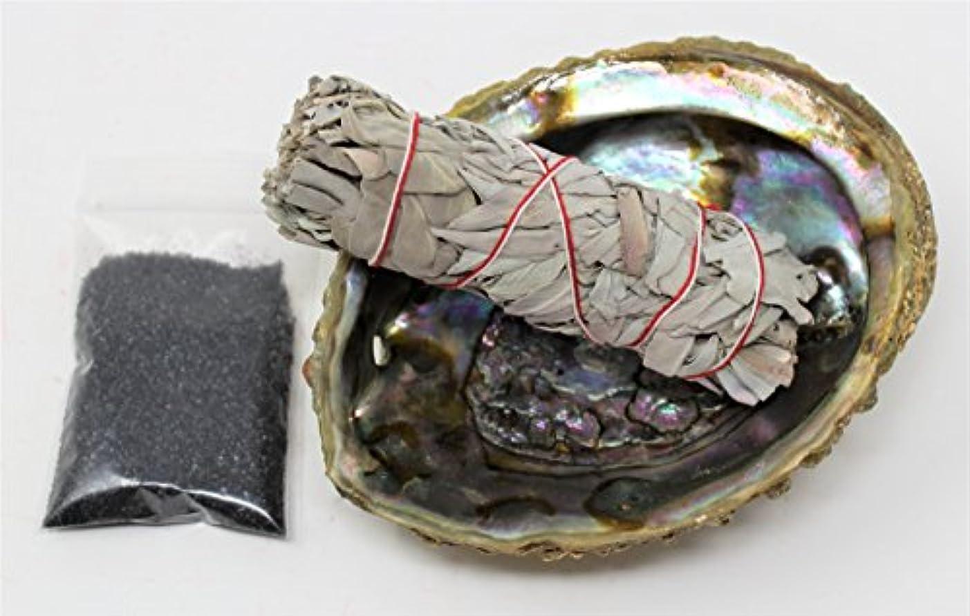 百ソースクレデンシャルセージSmudgeキットwithカリフォルニアホワイトセージ、Large Abalone Shell、ブラックSalt Plus Smudging Directions
