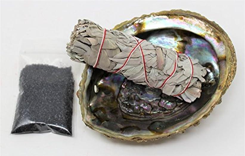 暴君バルーン罰するセージSmudgeキットwithカリフォルニアホワイトセージ、Large Abalone Shell、ブラックSalt Plus Smudging Directions