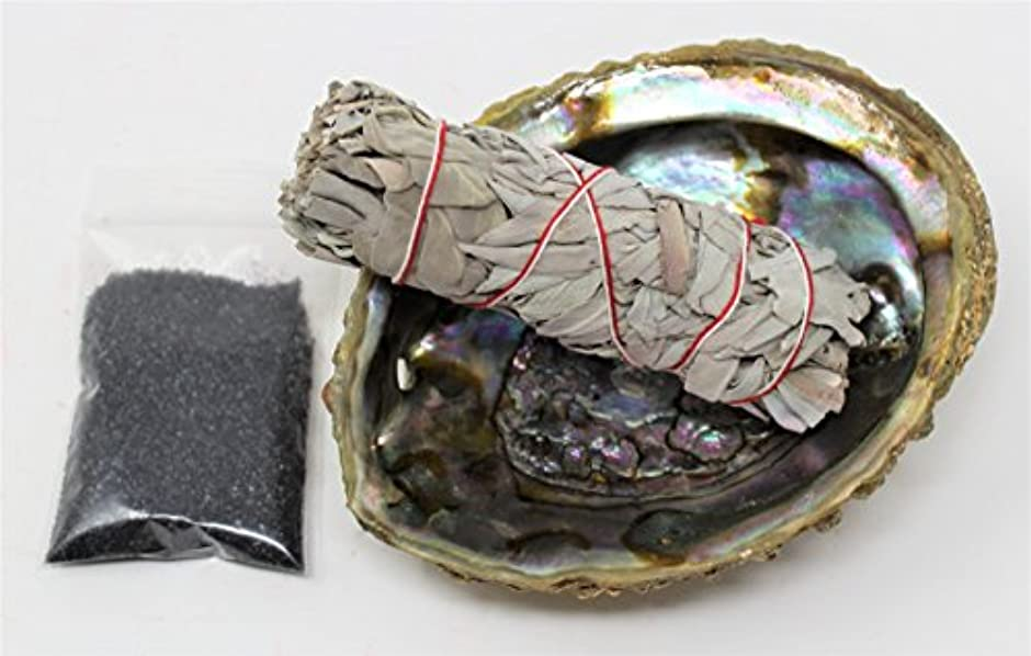 地球思われる医療のセージSmudgeキットwithカリフォルニアホワイトセージ、Large Abalone Shell、ブラックSalt Plus Smudging Directions