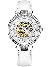BUERI(バオショ)腕時計 スケルトン 機械式 自動巻き レディース ESL-15006-P01AY (ホワイト)