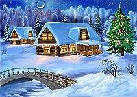 Diyの油絵子供のためのデジタル油絵大人初心者16x20インチ、雪の中の家--クリスマスの装飾ホームインテリアギフト (フレーム)