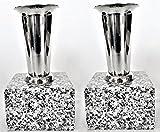 花立【お墓用】高級白みかげ石 ステンレス花筒取付け済み 2個(1対)セット お墓参りに S01