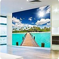 Sproud 大規模なカスタム壁紙高品質な 3D ペイント廊下拡大パームアイランドの風景の壁画の家調度品のピーコック 350 Cmx 245 Cm