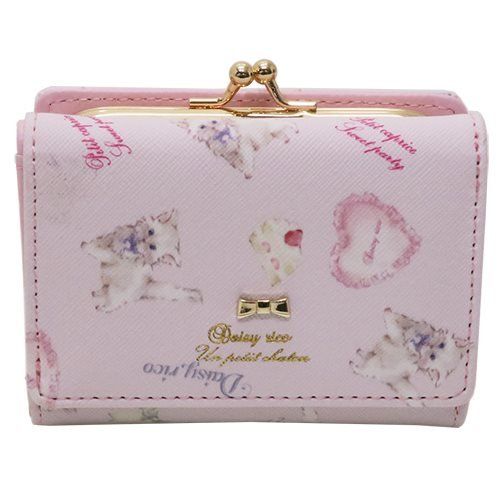 Daisy Rico デイジーリコ[ショートウォレット]がまぐち 三つ折り ミニ 財布/ねこモチーフ 【ピンク 】