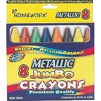 Homework Jumbo Metallic Crayons - 8 Ct 12 pcs sku# 1187921MA by DDI