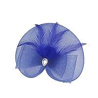 Perfk パーティー ヴィンテージ 人工羽毛 魅力的な ヘッドドレス 復古 ギャツビー ヘッドウェア 全10色 - ダークブルー